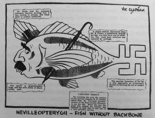 Caricature de Vic Lapham caricaturant Neville Chamberlain en cœlacanthe